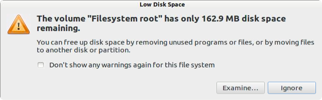 Low Disk Space Warning.